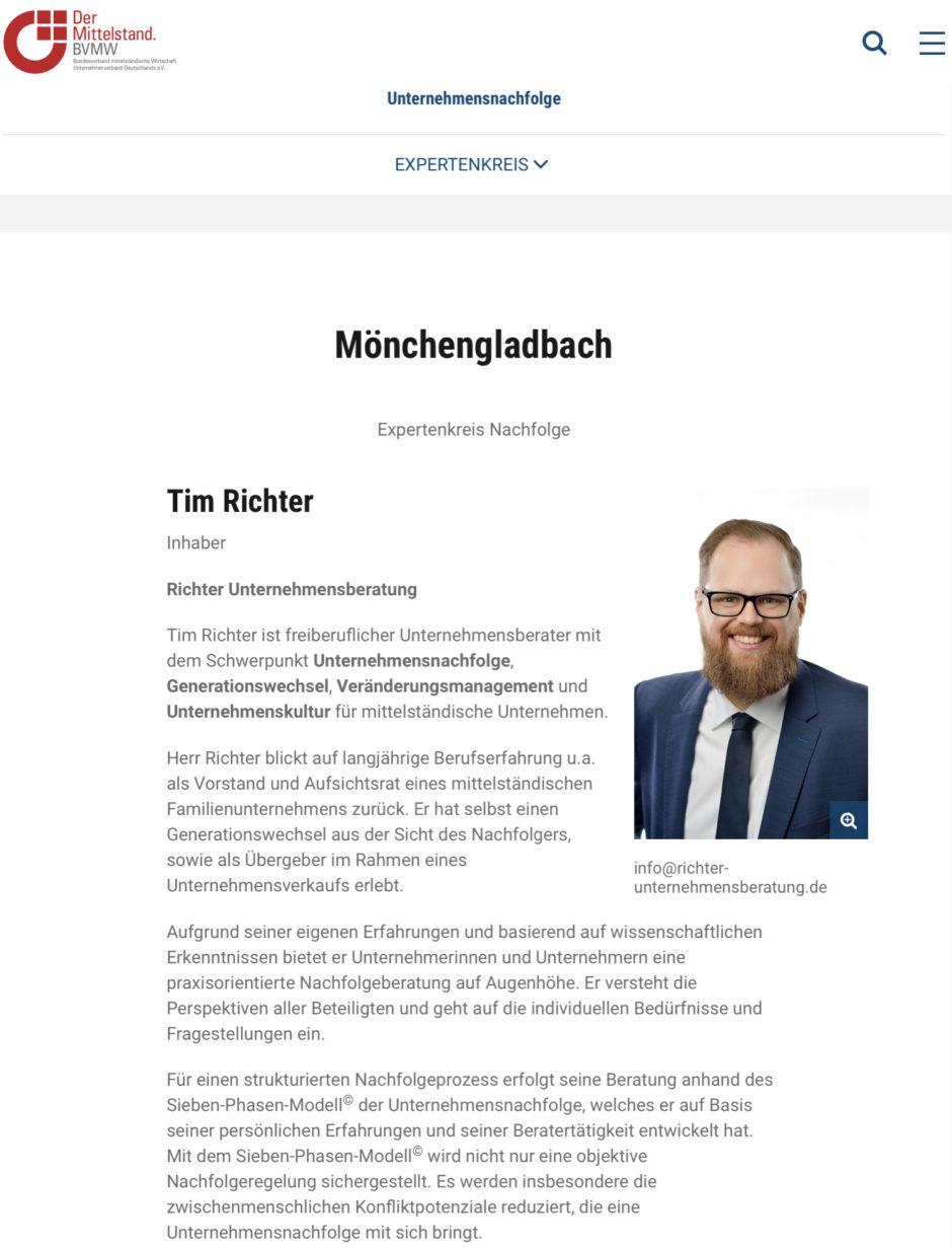 Tim Richter Unternehmensberatung - Mitglied Expertenkreis Unternehmensnachfolge des BVMW